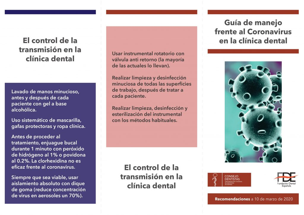 Medidas de prevención frente al coronavirus en clinicas dentales
